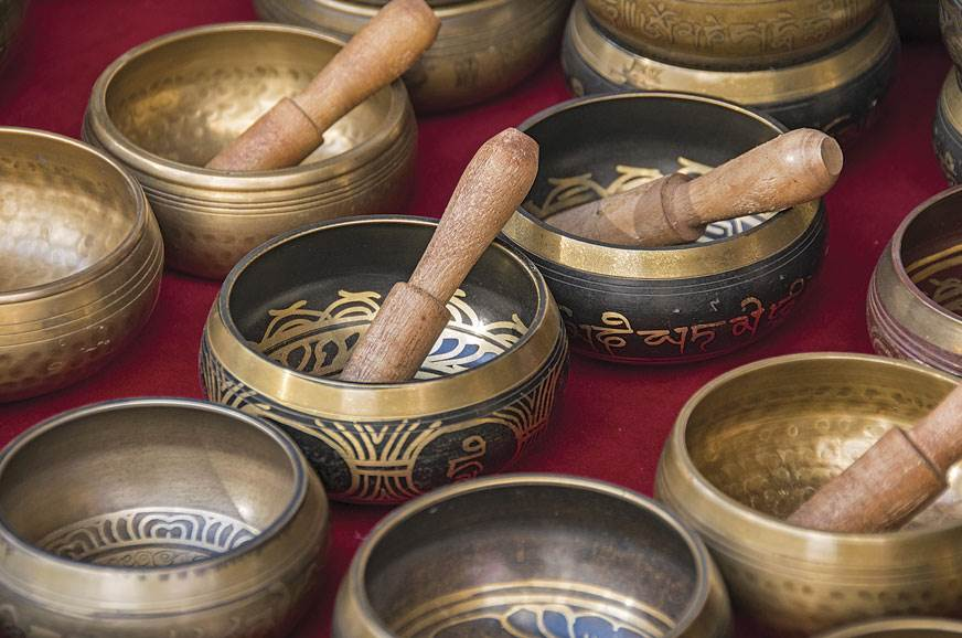 Trinkets of Buddhist culture are visible all over Nepal, ...
