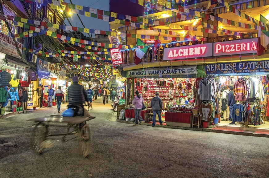 The Thamel market in Kathmandu is crowded, colourful and ...