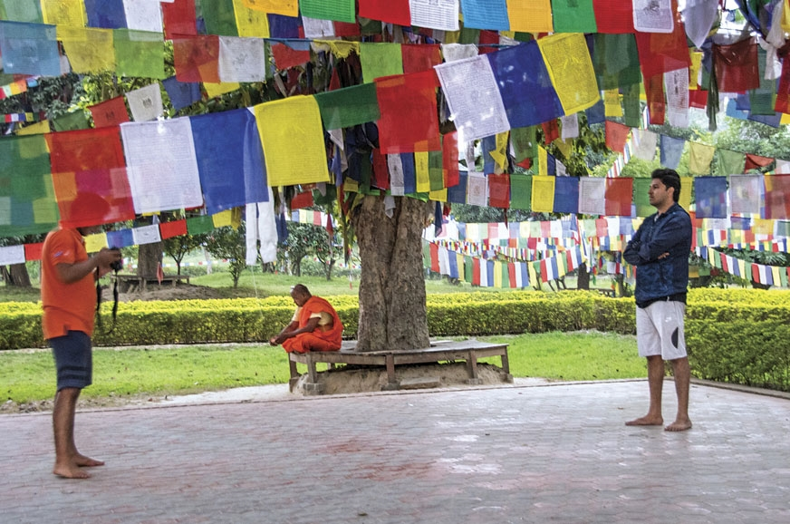 Young GODs enjoy the peaceful atmosphere in Lumbini.