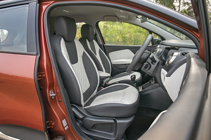 The Captur's front seats are richly finished but taller o...