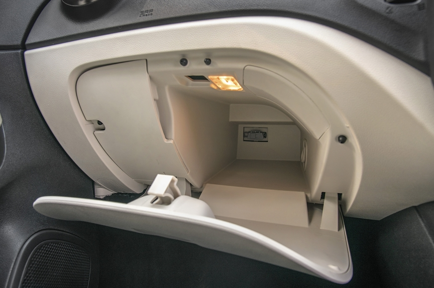 Captur's glovebox is very small.
