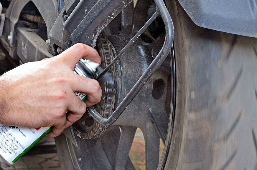 Applying the chain cleaner; You can also use WD-40.