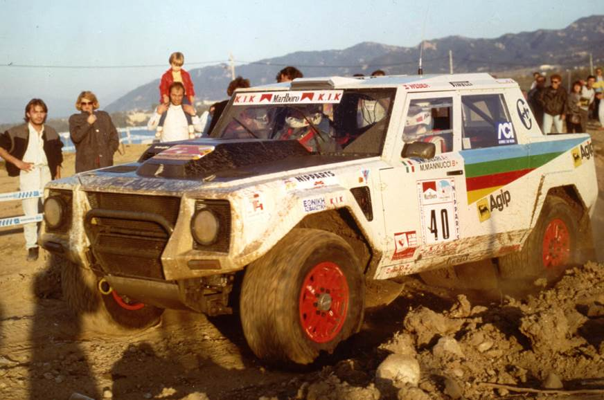 The rally-spec Lamborghini LM002 in the Greece Rally 1988.
