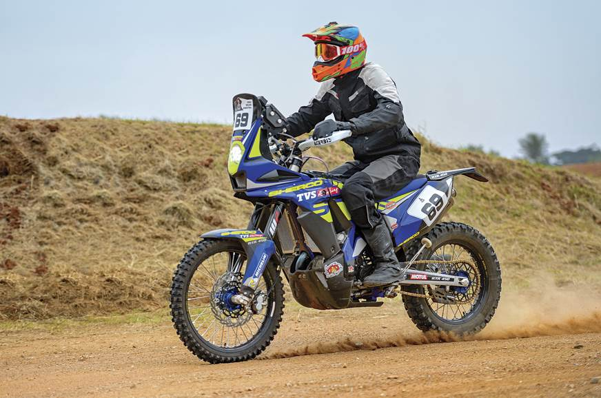 The Sherco TVS RTR 450 Dakar rally bike.
