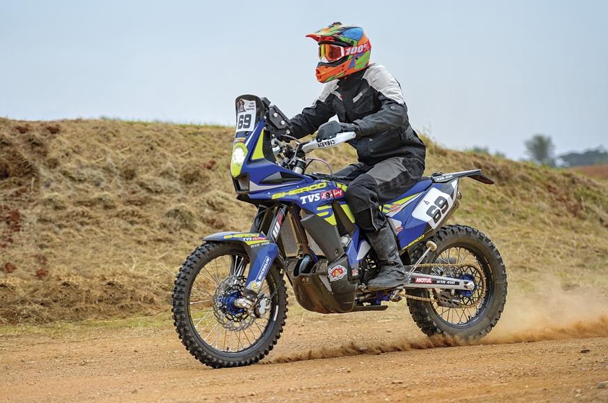 The Sherco TVS RTR 450 Dakar rally bike.