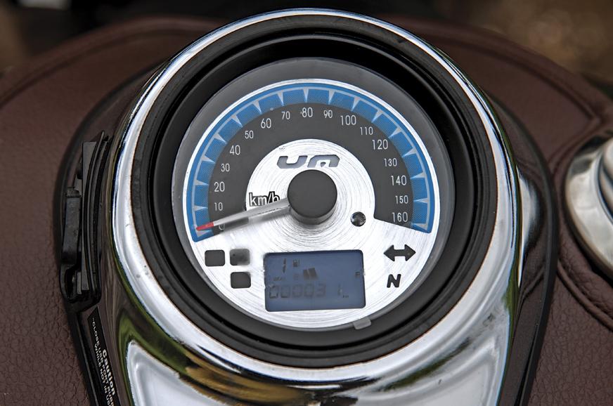 Speedometer positioning makes it hard to read while riding.