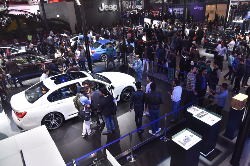 The BMW and Jeep stands at the Auto Expo 2016.