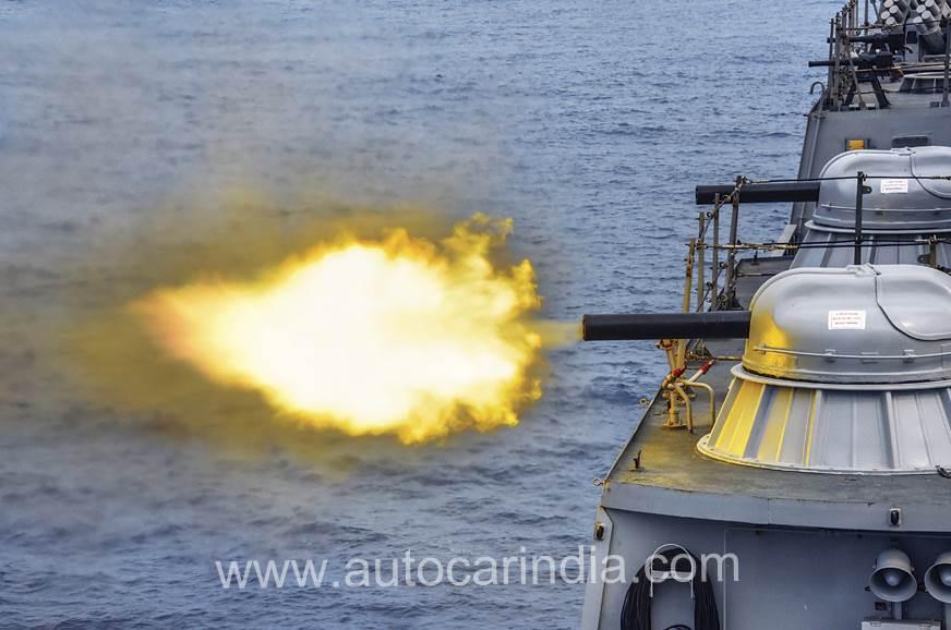 AK-630 radar-controlled, multi-barrel machine guns fire o...