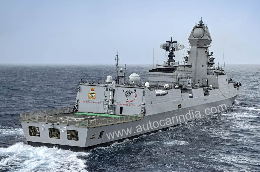 To help deflect radar waves, the ship's surfaces slope aw...