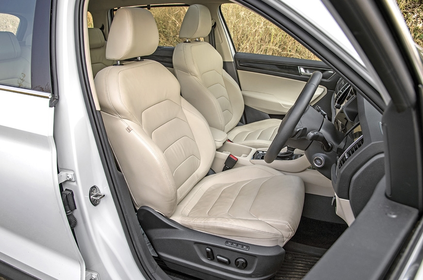 Powered front seats get memory and extended thigh and bac...