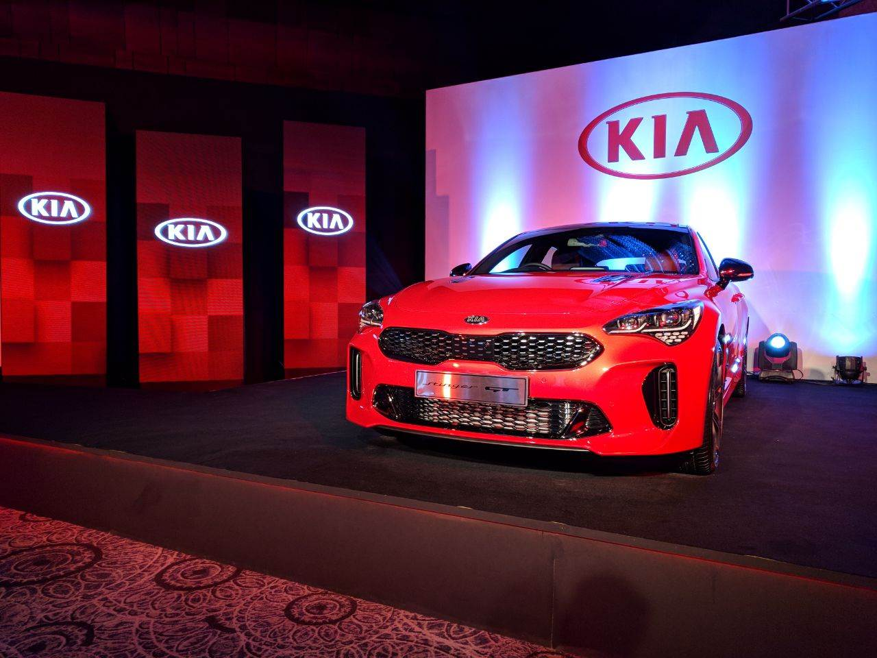 Kia Stinger sedan shown ahead of Auto Expo 2018