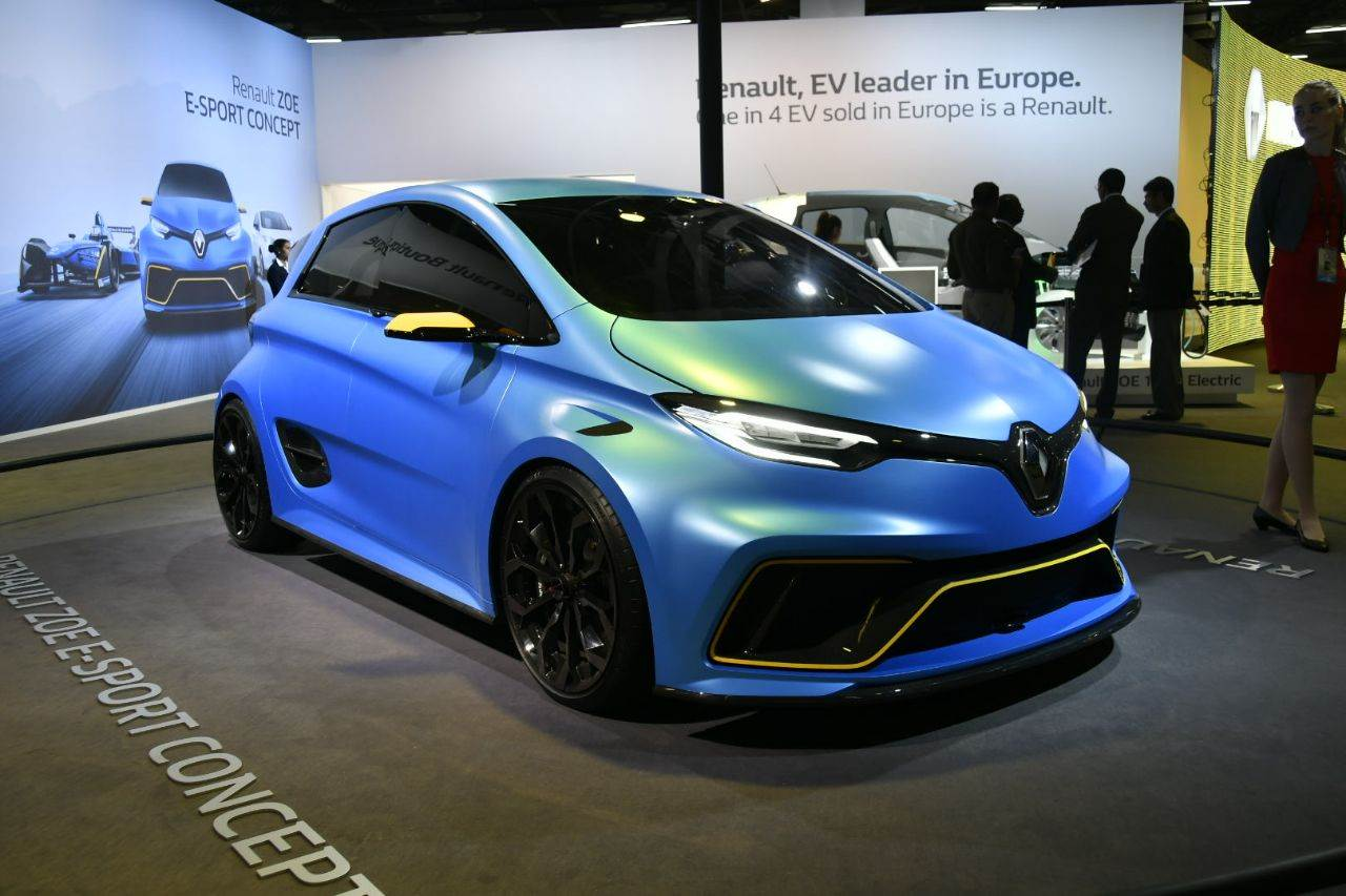 Renault Zoe e-Sport displayed at Auto Expo 2018