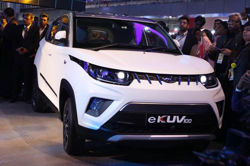 Mahindra eKUV100 EV showcased at Auto Expo