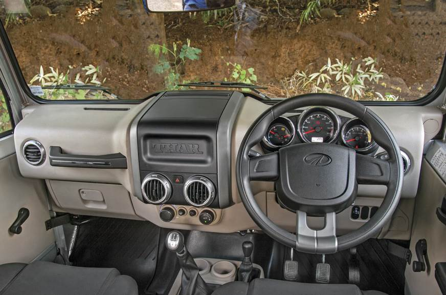 The Thar's dashboard, in comparison to the Gurkha, looks ...