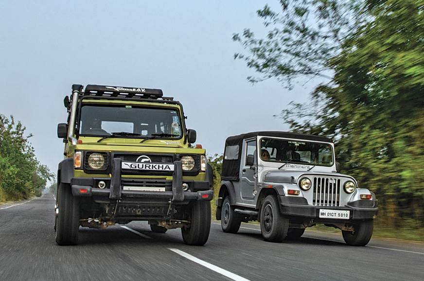 The Gurkha just cannot keep up with the Thar on the highway.