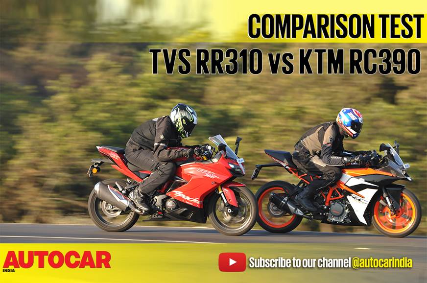 2018 TVS Apache RR 310 vs KTM RC 390 comparison video