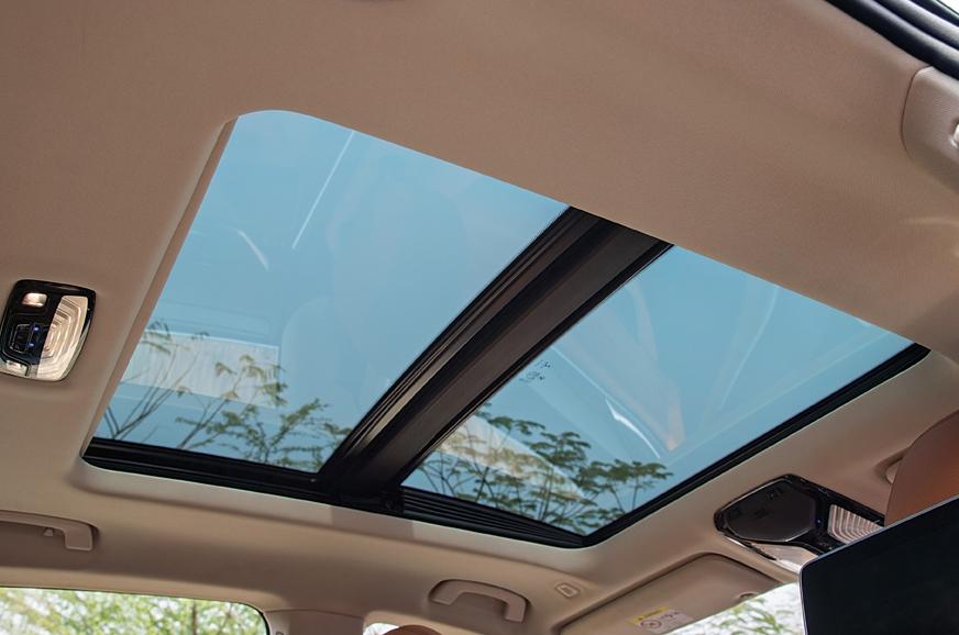 Huge sunroof makes cabin feel airier.