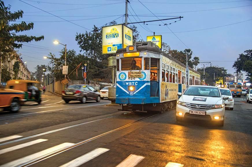 Racing the tram in Kolkata.