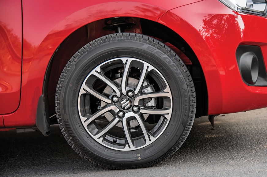 The Swift's 15-inch alloys with 185mm tyres.