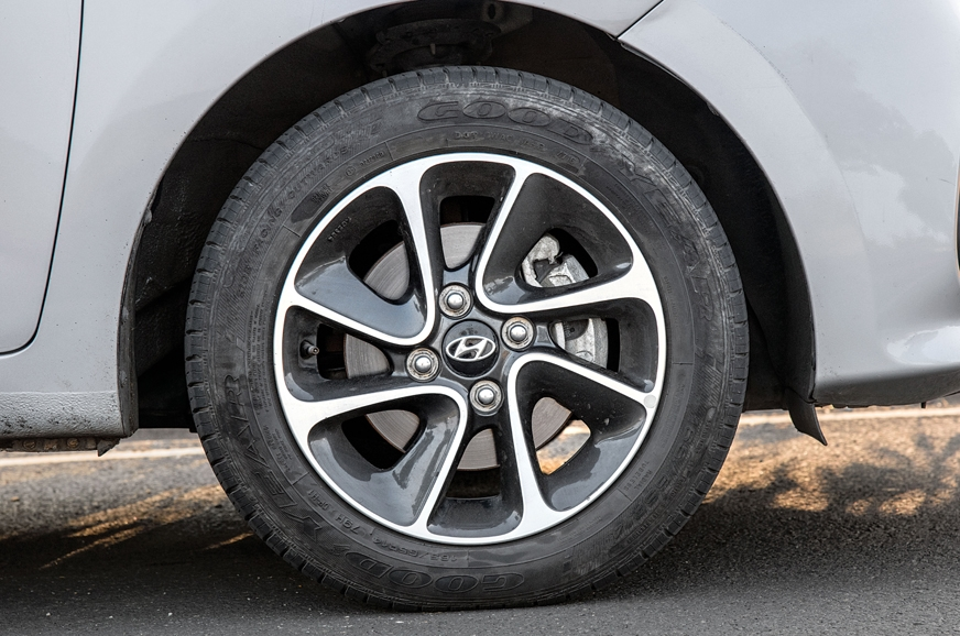 Smaller 14-inch alloys on the Grand i10.