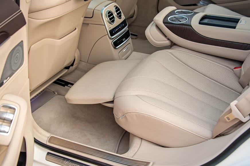 Extendable foot rest standard in long-wheelbase S-class.