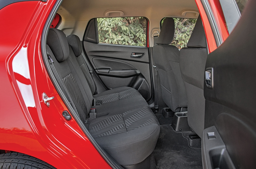 Rear-seat passengers in the Swift have ample space.