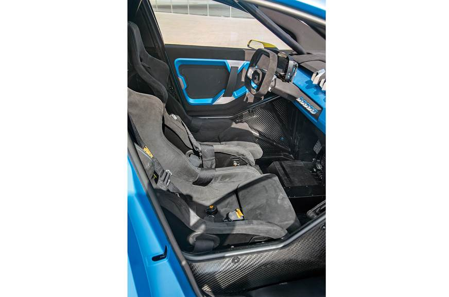 High-sided Recaro buckets hold you while cornering.