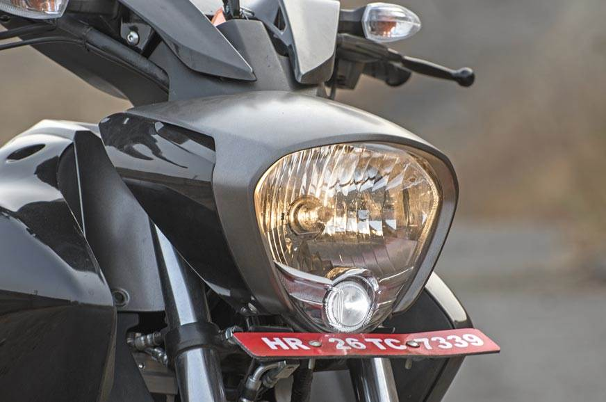 The triangular headlight on the Intruder also features a ...