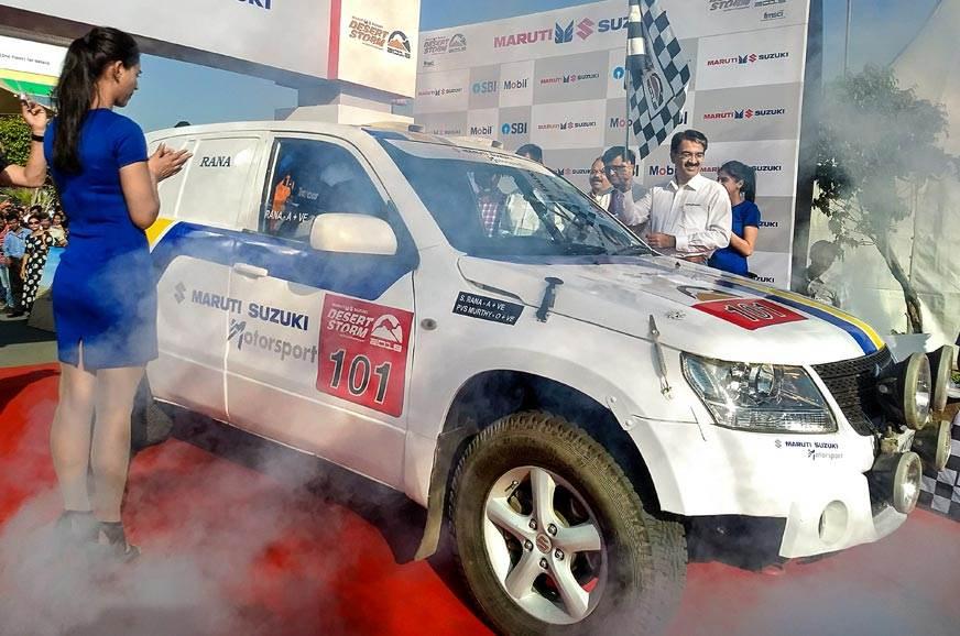 Suresh Rana in his Maruti Suzuki-sponsored Grand Vitara a...
