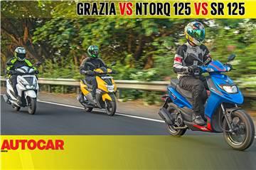 Honda Grazia vs TVS Ntorq 125 vs Aprilia SR 125 comparison video