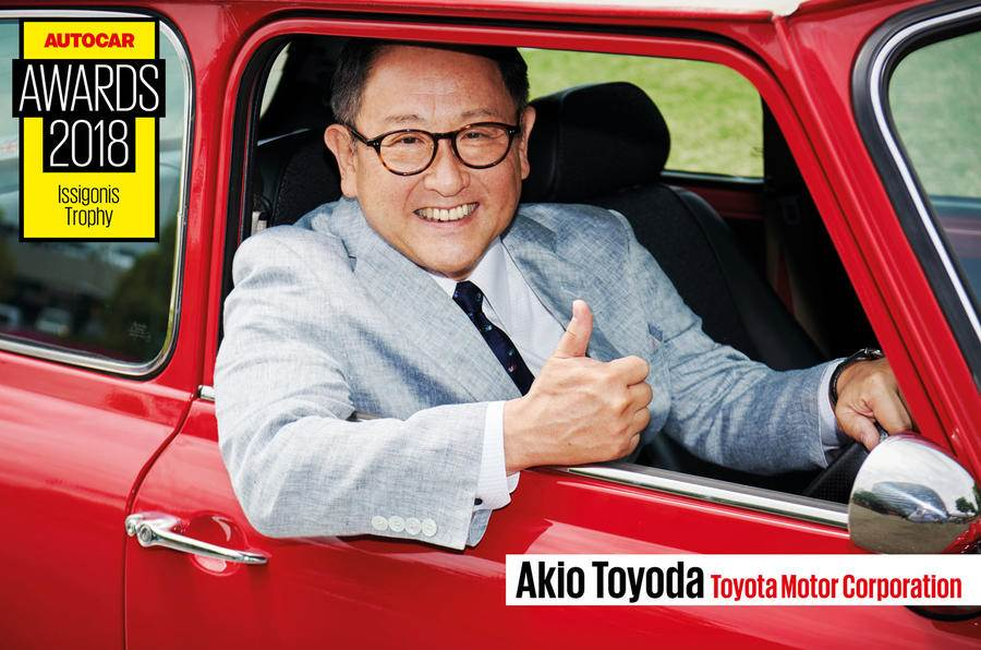 Autocar presents Toyota president Akio Toyoda with Issigonis Trophy