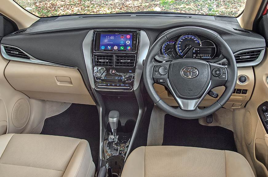 Yaris' dash looks modern and contemporary with the use of...