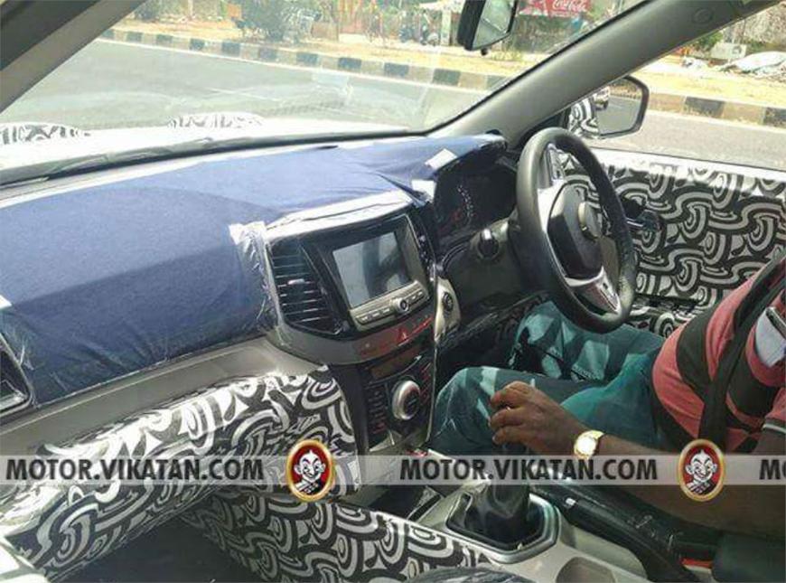 Mahindra S201 SUV interior spied