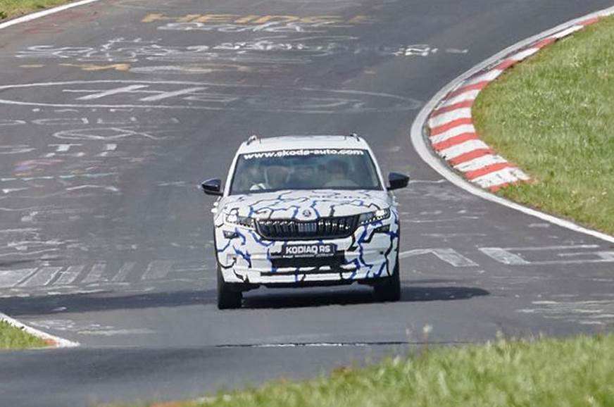 The Kodiaq RS spied testing at the Nurburgring.