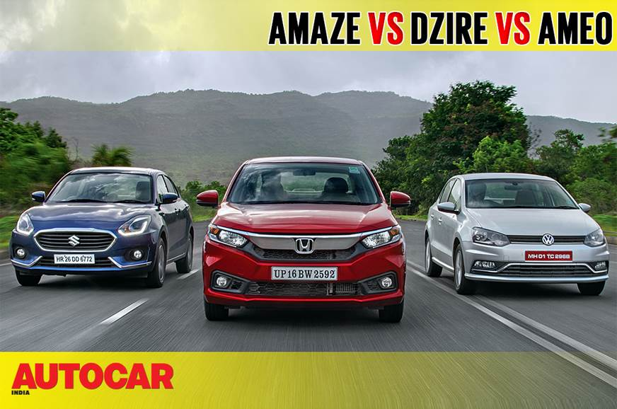 2018 Amaze vs Dzire vs Ameo comparison video