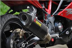 TVS Apache RR 310 aftermarket exhaust system now offered by Akrapovic