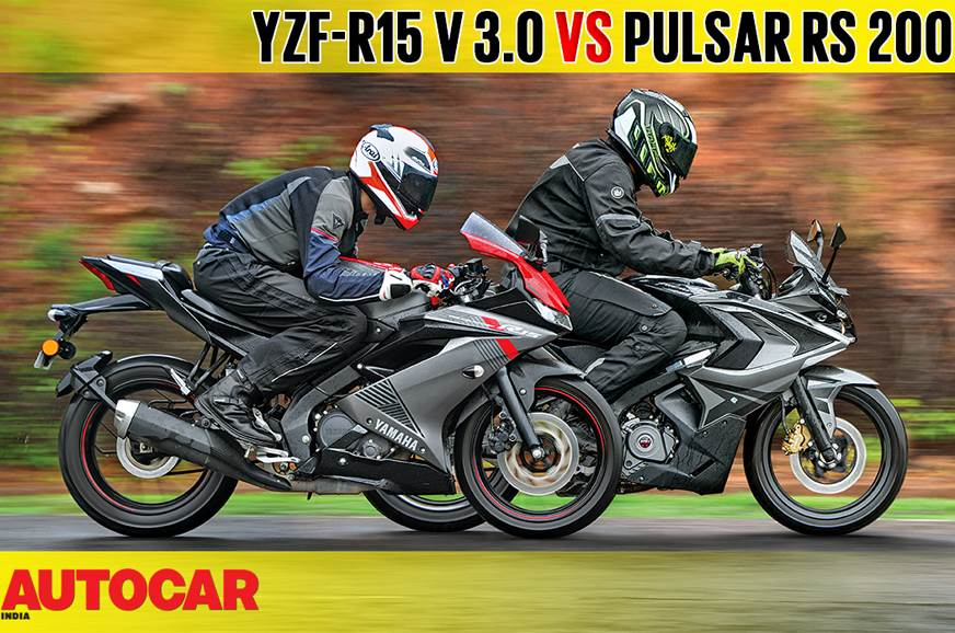 2018 Yamaha YZF-R15 V3.0 vs Bajaj Pulsar RS 200 comparison video