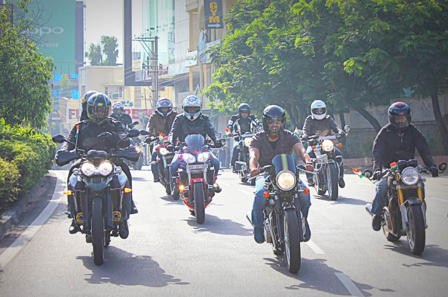 Triumph Independence Day group ride for charity