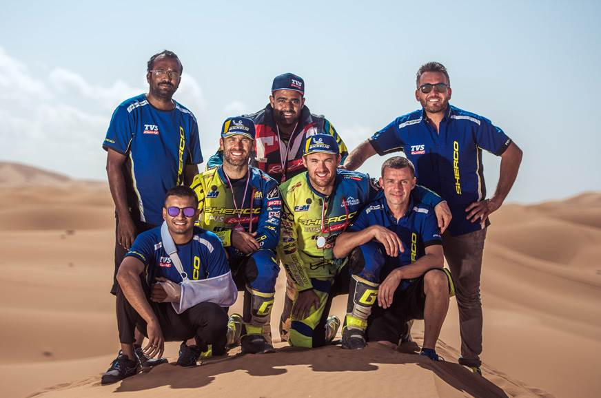 The Sherco TVS Factory Rally Team.