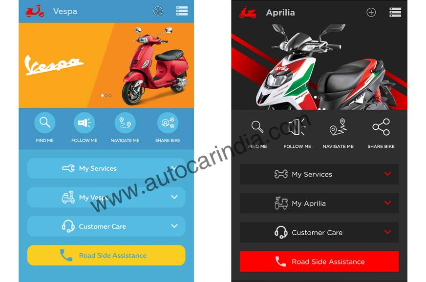 The Aprilia and Vespa Connectivity app.