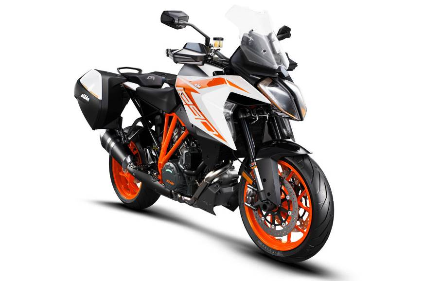 The 2019 KTM 1290 Super Duke GT in white.