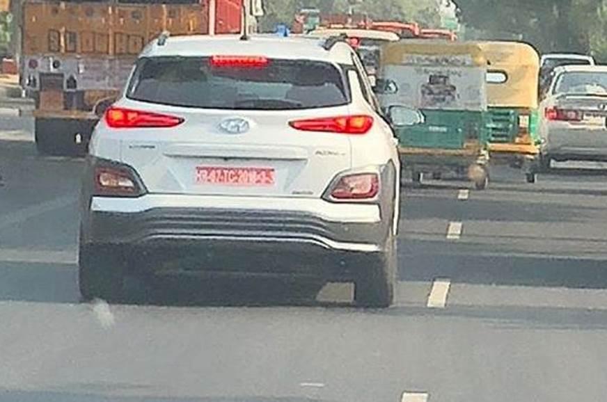 Hyundai Kona Electric spied in India