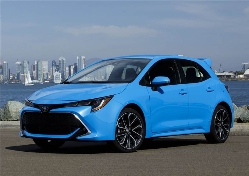 The new Corolla sedan will borrow styling from the hatchback (pictured).