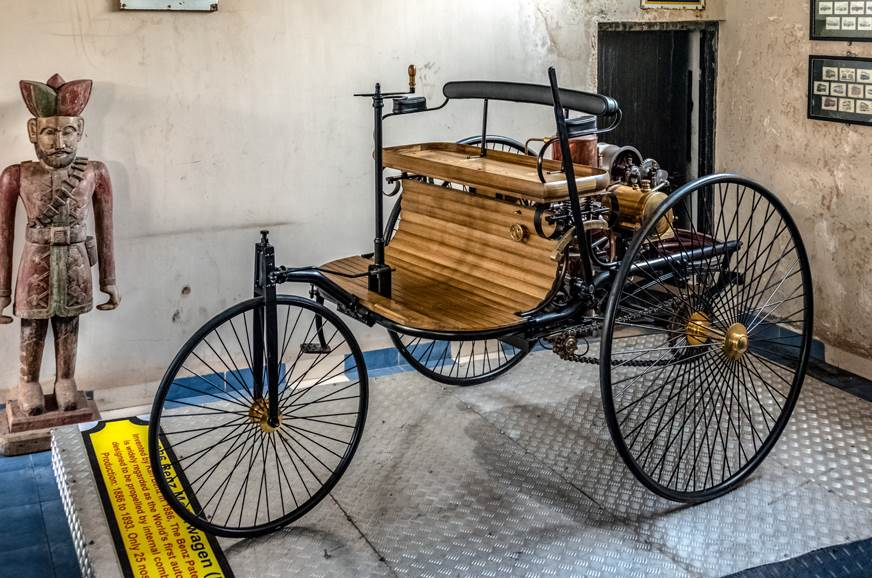 A replica of the 1886 Benz Patent-Motorwagen, hailed as t...