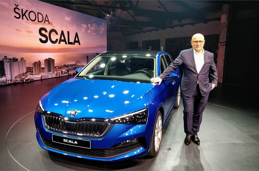 Skoda Auto CEO Bernhard Maier with the new Scala.