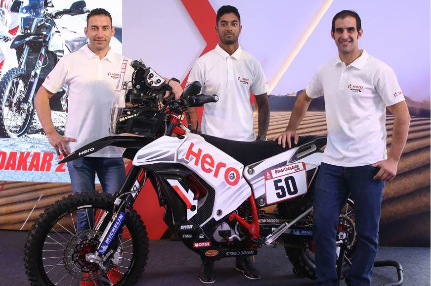(L-R) Hero MotoSports Team Rally's  riders Joaquim Rodrigues, CS Santosh and Oriol Mena