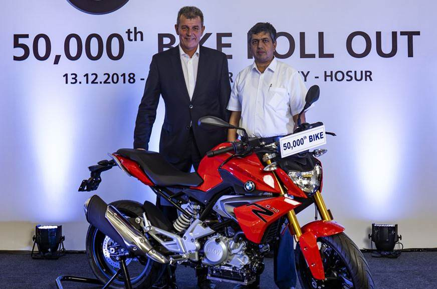 50,000th BMW G 310 rolls out from TVS plant in Hosur