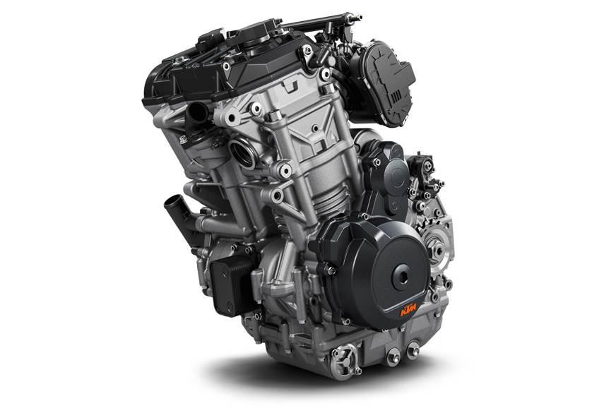KTM 799cc, twin-cylinder motor.
