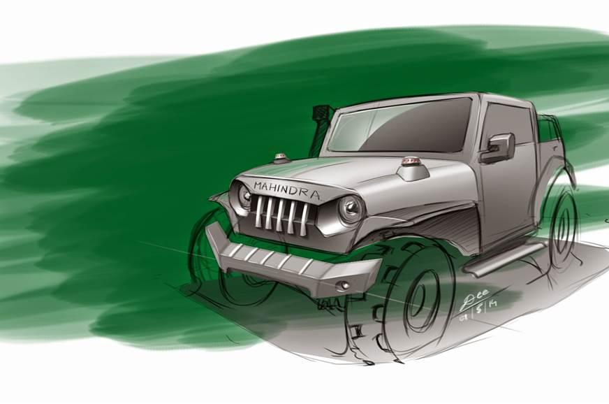 Mahindra Thar sketch by Deepak Bandekar.