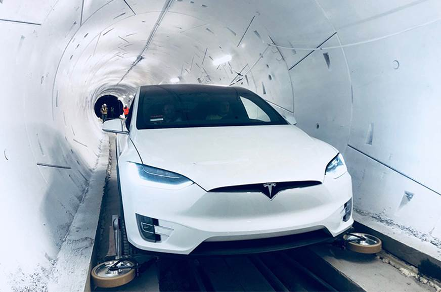 High-speed EV transport tunnel showcased by Elon Musk